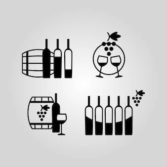 Ensemble d'icônes de vin