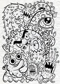 Ensemble d'icônes de virus corona. illustration de dessin animé art ligne dessinée à la main