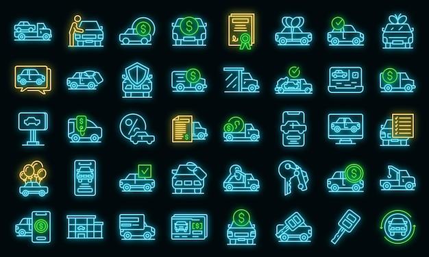 Ensemble d'icônes de voiture d'achat. ensemble de contour d'achat d'icônes vectorielles de voiture couleur néon sur fond noir