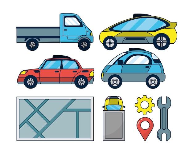 Ensemble d'icônes de voiture autonome