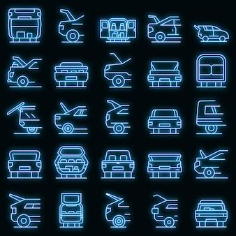 Ensemble d'icônes de voiture de coffre au néon de vecteur