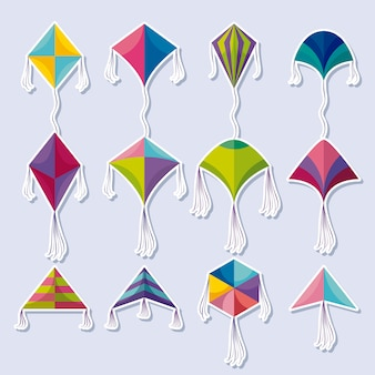 Ensemble d'icônes volantes de cerfs-volants