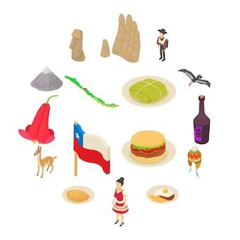 Ensemble d'icônes de voyage chili, style isométrique