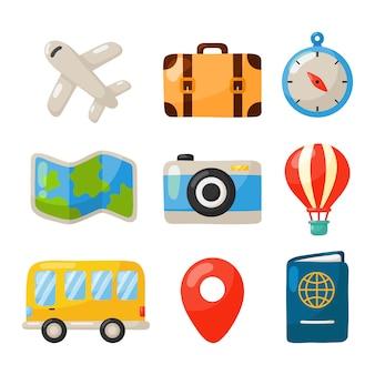 Ensemble d'icônes de voyage isolé