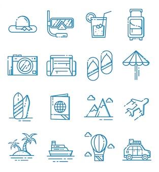 Ensemble d'icônes de voyage avec style de contour