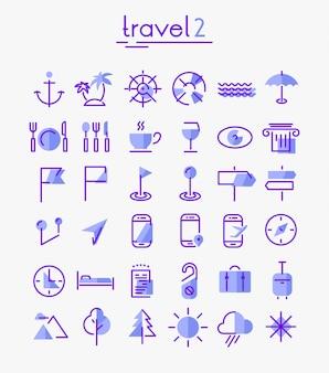 Ensemble d'icônes de voyage, de tourisme et de météo