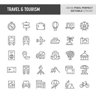 Ensemble d'icônes de voyage et de tourisme