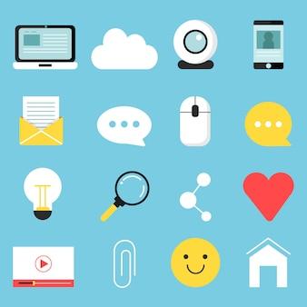 Ensemble d'icônes web de divers symboles pour bloguer et diffuser