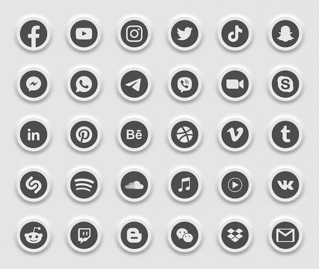 Ensemble d'icônes web modernes 3d de médias sociaux