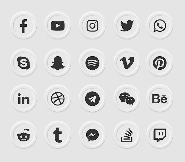 Ensemble d'icônes web modernes de médias sociaux
