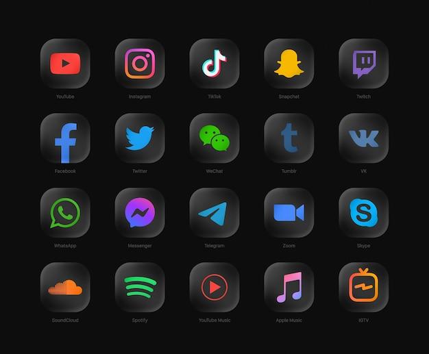 Ensemble d'icônes web noir arrondi moderne de réseau de médias sociaux populaires