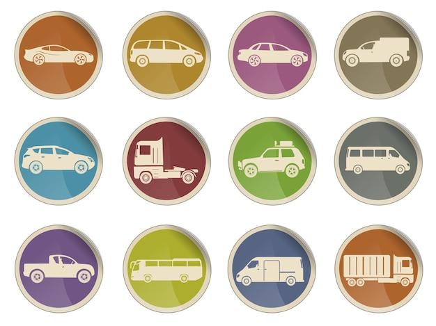 Ensemble d'icônes web de vecteur de véhicules