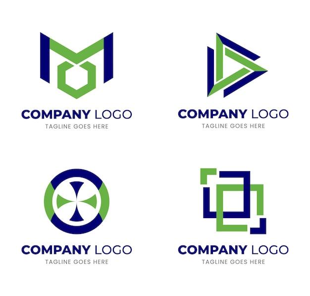 Ensemble d'idées de conception de logo d'entreprise en bleu et vert