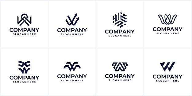 Ensemble d'idées de conception de logo d'entreprise créative monogramme lettre w