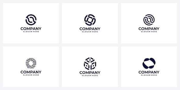 Ensemble d'idées de conception de logo d'entreprise lettre o monogramme