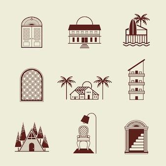 Ensemble d'identité d'entreprise de logo d'hôtel marron