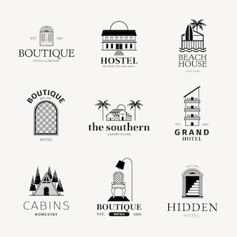 Ensemble d'identité d'entreprise noir de logo d'hôtel