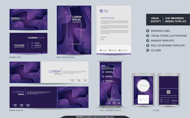 Ensemble d'identité de marque visuelle stationnaire violet coloré.