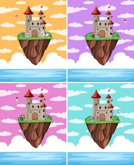 Ensemble d'île de château de fantaisie