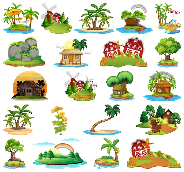 Ensemble d'îles différentes