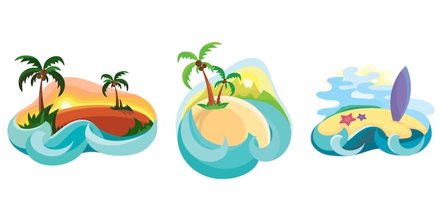 Ensemble d'îles tropicales dans l'océan. illustrations en style cartoon.