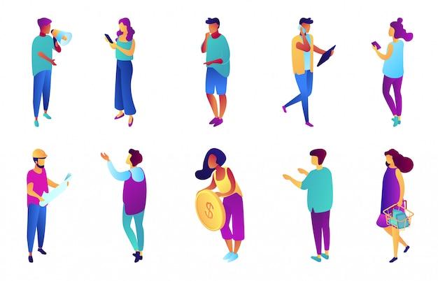 Ensemble d'illustration 3d isométrique de gens d'affaires.