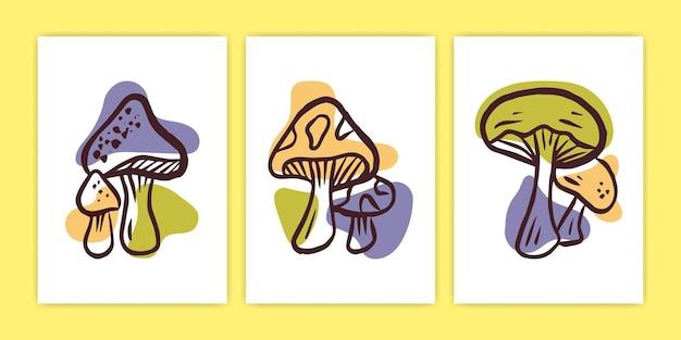 Ensemble d'illustration abstraite d'affiche de champignon de boho