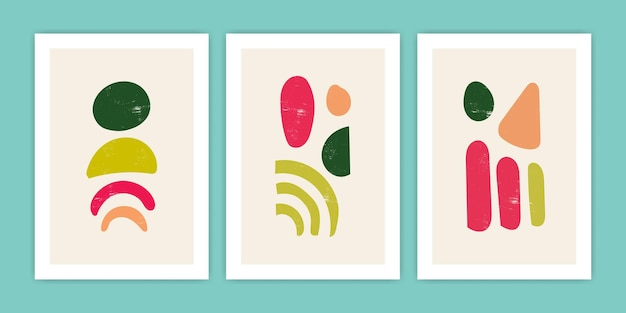 Ensemble d'illustration abstraite d'affiche de forme de boho