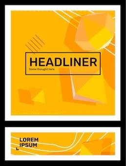 Ensemble d'illustration abstraite de couleur jaune créative dans la composition d'entreprise de cadre avec la forme