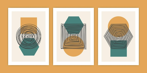Ensemble d'illustration d'affiche de forme géométrique abstraite