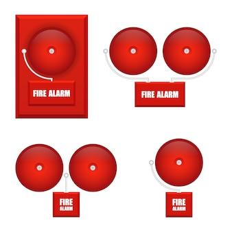 Ensemble d'illustration d'alarmes incendie isolé sur fond blanc