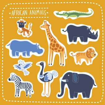 Ensemble d'illustration d'animaux africains drôles mignons, bêtes de la savane