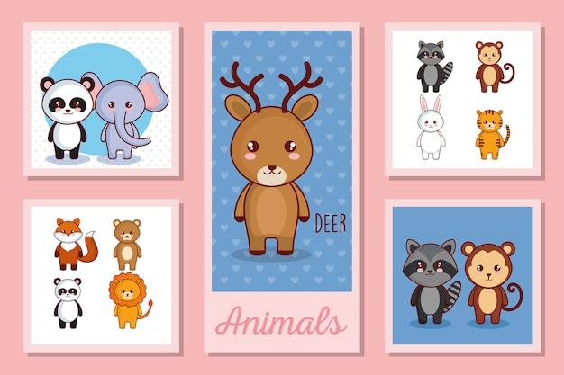 Ensemble d'illustration d'animaux mignons