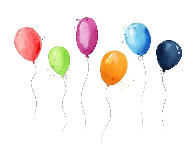 Ensemble d'illustration aquarelle de ballons à air colorés