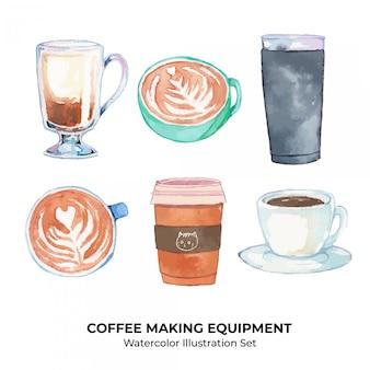 Ensemble d'illustration aquarelle de boissons au café