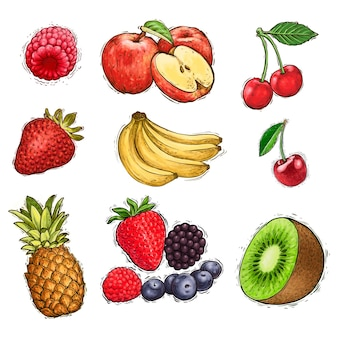 Ensemble d'illustration aquarelle de collection de fruits