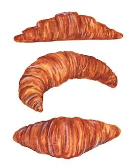 Ensemble d'illustration aquarelle croissants isolé.