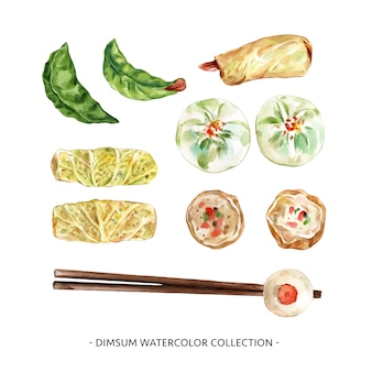 Ensemble d'illustration aquarelle dim sum à usage décoratif.