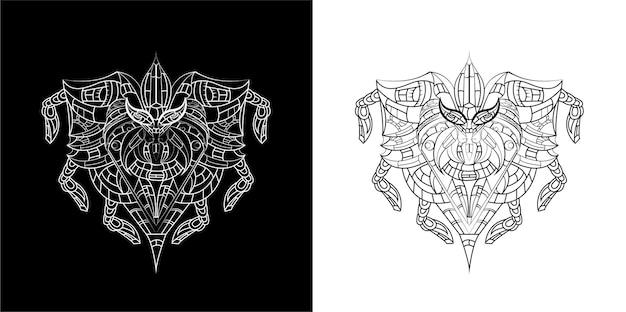 Ensemble d'illustration art ligne machine araignée