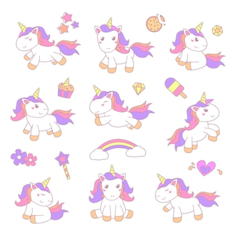 Ensemble d'illustration autocollant petite licorne