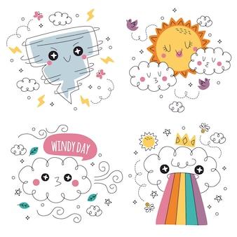 Ensemble d'illustration d'autocollants météo dessinés à la main doodle