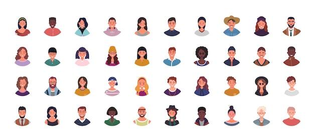 Ensemble d'illustration d'avatars de diverses personnes. portraits d'utilisateurs multiethniques. personnages masculins et féminins.