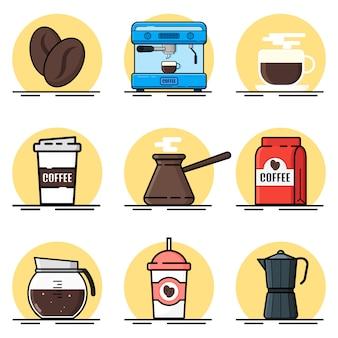 Ensemble d'illustration de café
