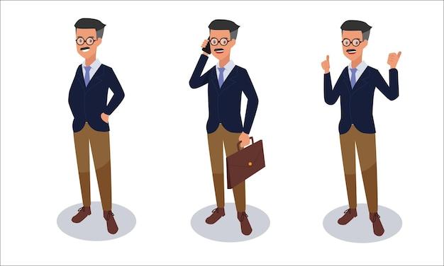 Ensemble d'illustration de caractère homme d'affaires