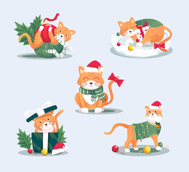 Ensemble d'illustration de chat de noël