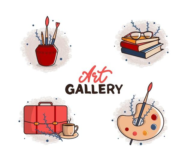 Ensemble d'illustration de collection de logo art rétro