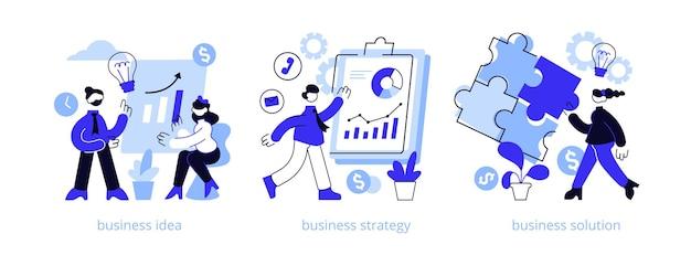 Ensemble d'illustration de concept abstrait de plan d'affaires