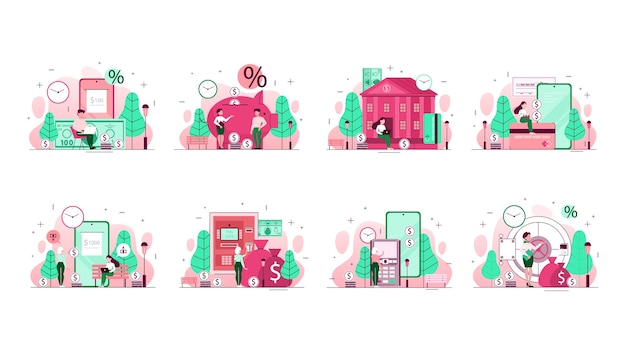Ensemble d'illustration de concept de banque. idée de planification financière, investissement et transfert d'argent, paiements par téléphone portable et autres opérations. illustration de la ligne