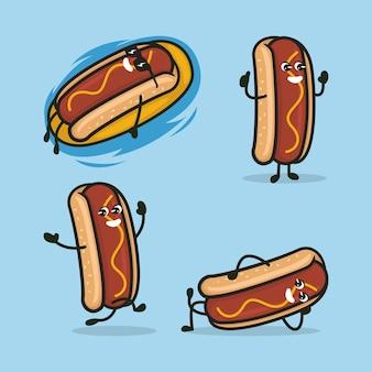 Ensemble d'illustration de conception de logo mascotte hot-dog mignon