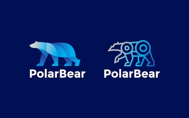 Ensemble d'illustration de conception de logo ours polaire géométrique dégradé